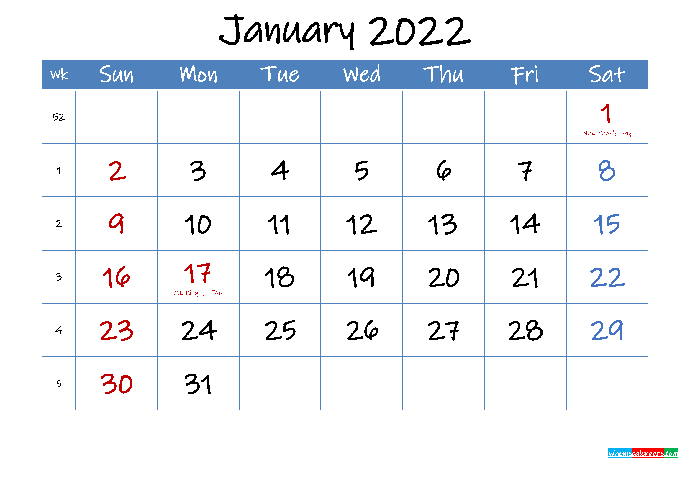 Printable January 2022 Calendar Word - Template Ink22M13 Inside Empty January 2022 Calendar