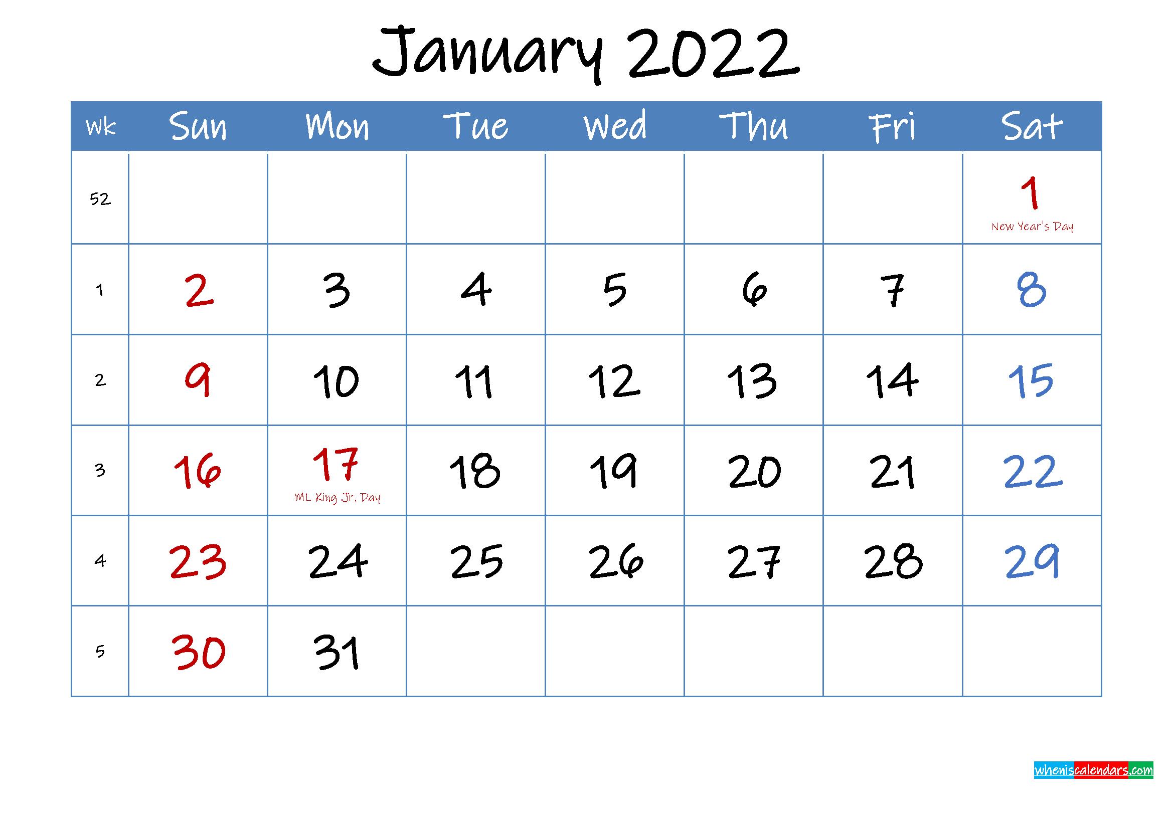 Printable January 2022 Calendar Word – Template Ink22M13 Within January2022 Printable Calendar Cute