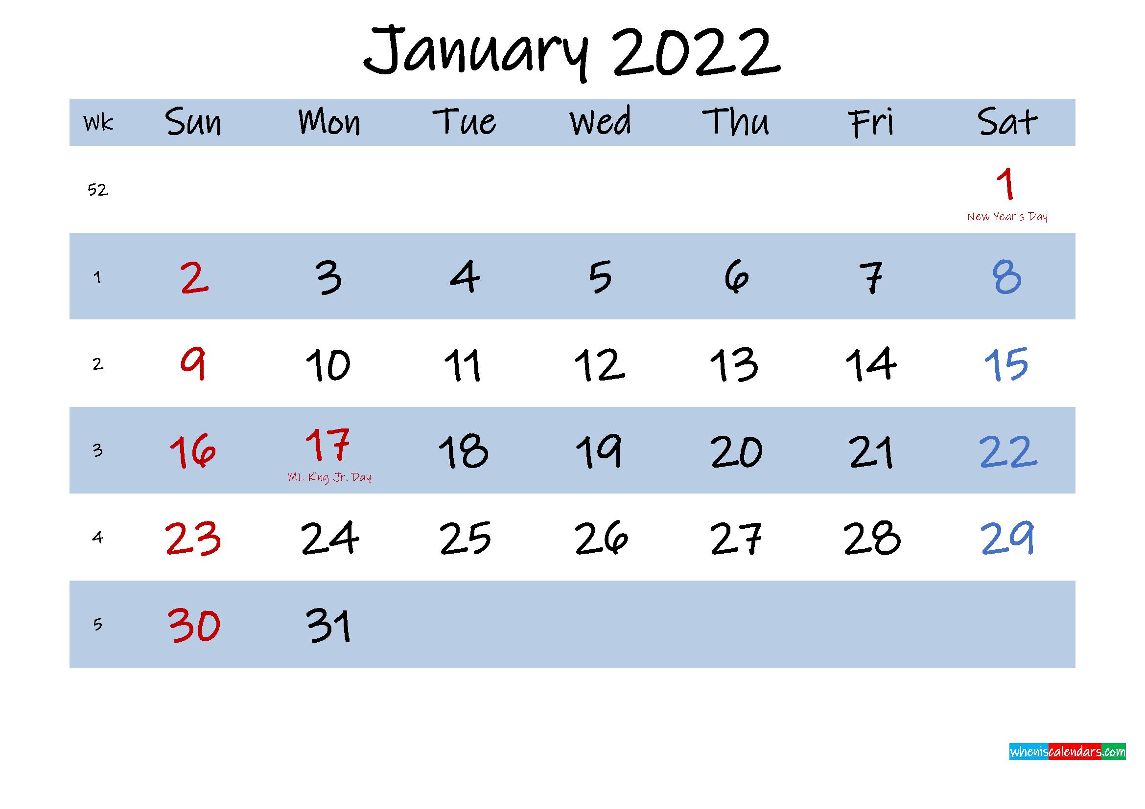 Printable January 2022 Calendar Word – Template No.ink22M493 In Free Printable Calendar January 2022 With Holidays
