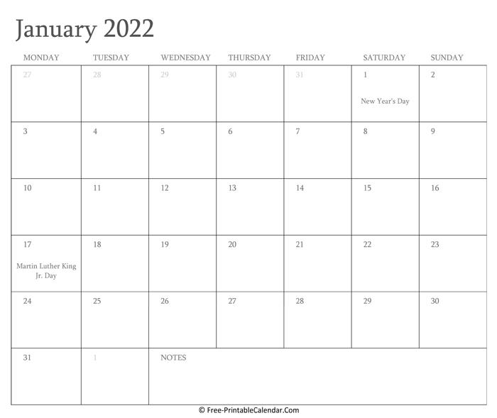 Printable January Calendar 2022 With Holidays With 2022 January Calendar With Holidays