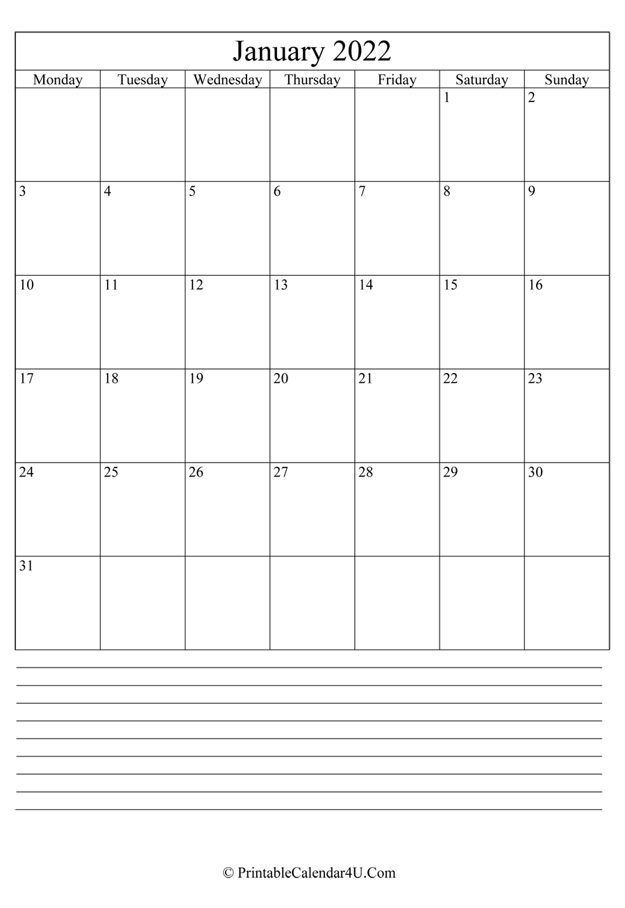 Printable January Calendar 2022 With Notes (Portrait) Inside Calendar 2022 January Printable