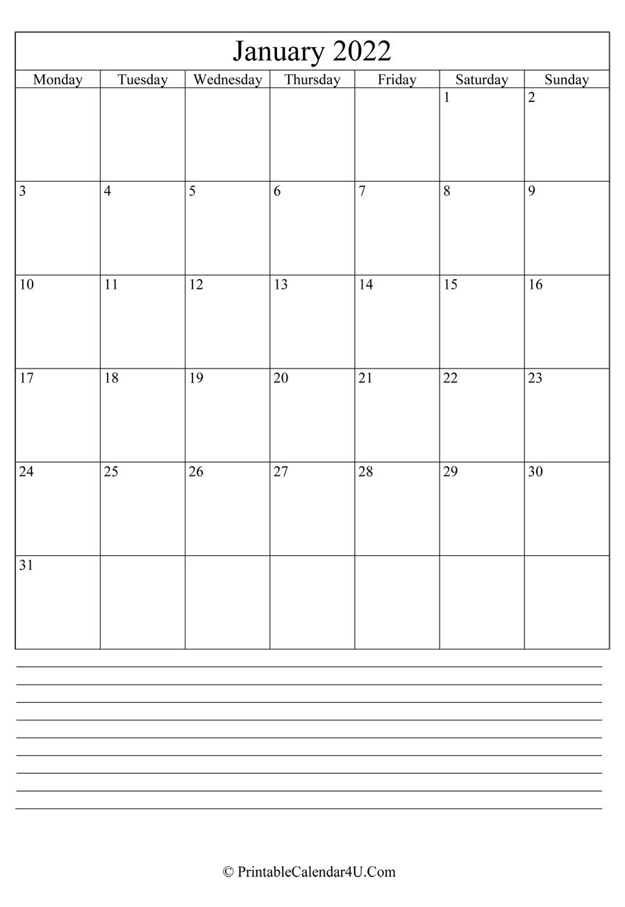 Printable January Calendar 2022 With Notes (Portrait) With 2022 January Blank Calendar
