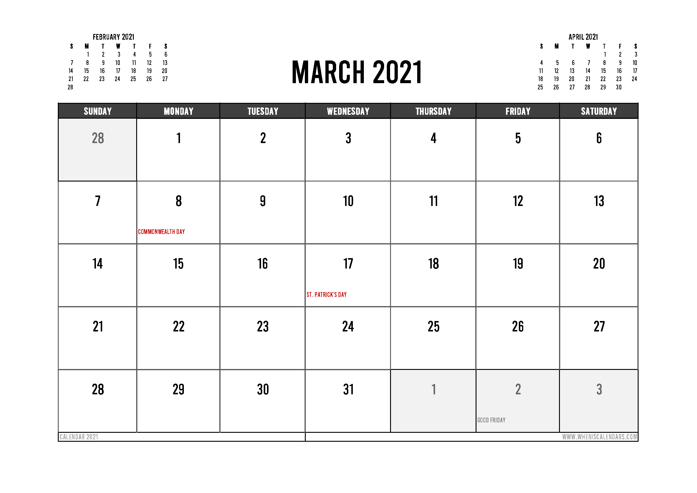Printable March 2021 Calendar Canada Pertaining To March Holidays 2021 Calendars