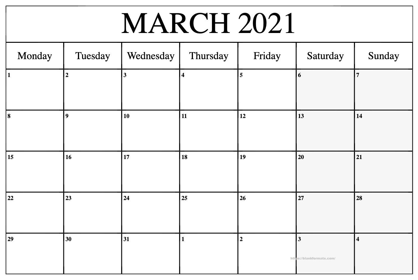 Printable March 2021 Calendar - Pdf, Word, Excel Sheet Within March 2021 Calendar Template