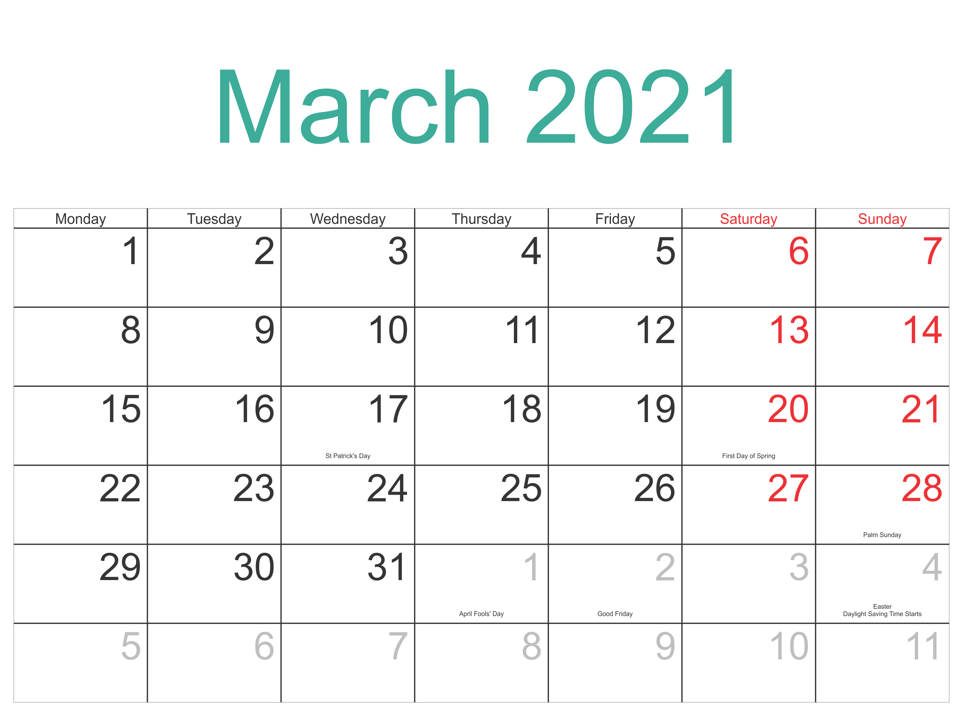 Printable March 2021 Calendar Word Template - Printable With March Holidays 2021 Calendars