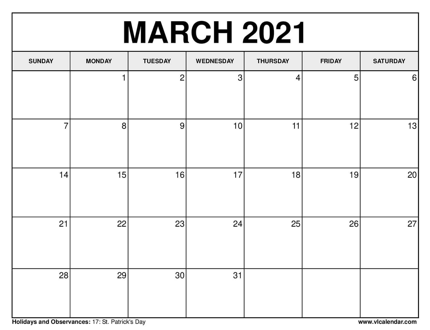 Printable March 2021 Calendars Inside Printable Calendar March April May 2021