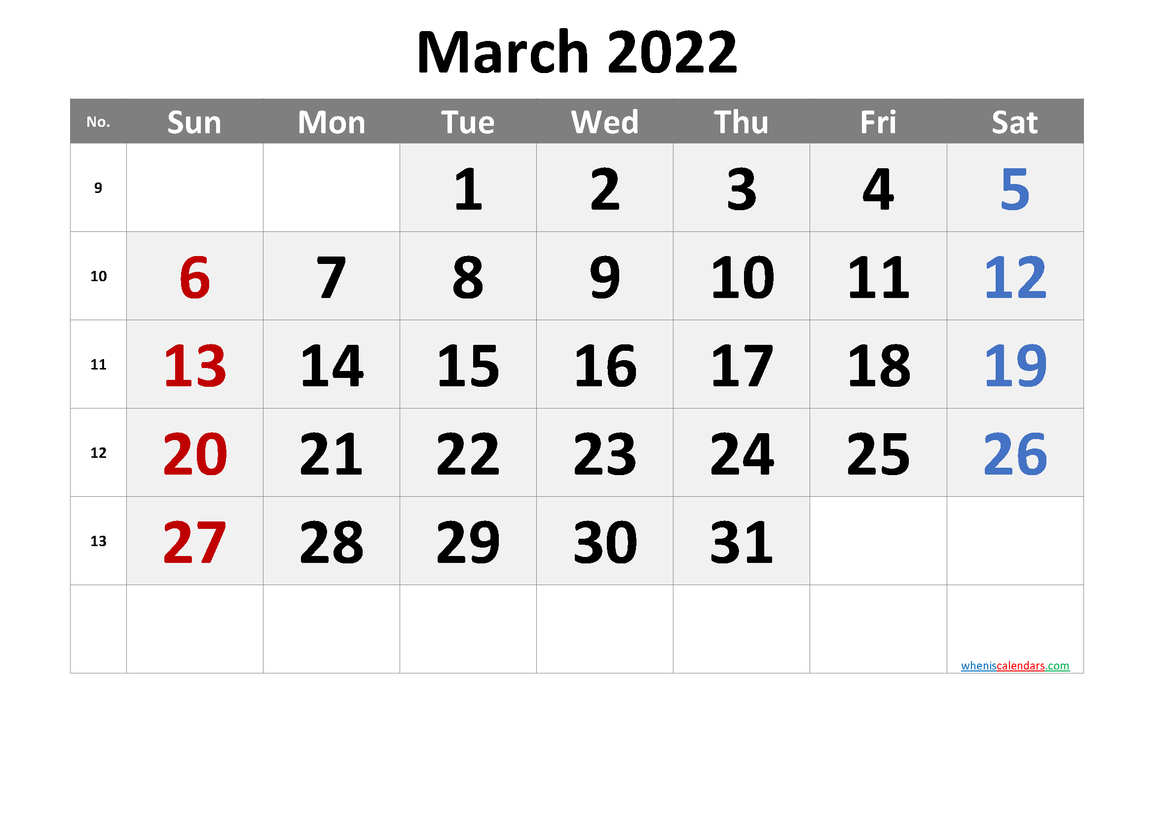 Printable March 2022 Calendar Intended For Calendar For March 2022
