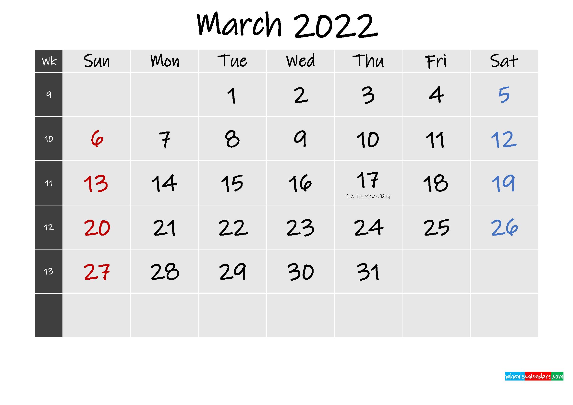 Printable March 2022 Calendar Word – Template No.ink22M255 Regarding Calendar Of March 2022