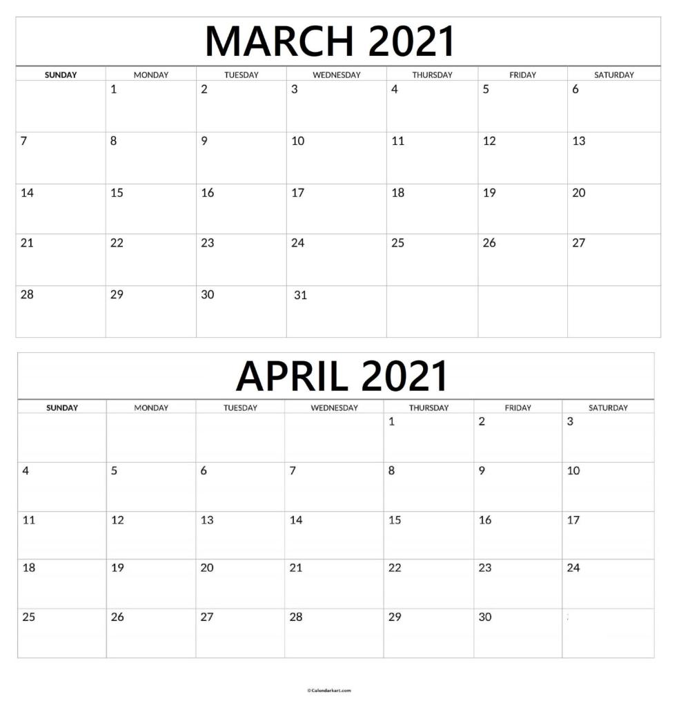 Printable March April 2021 Calendar: 2Nd Bi Monthly Calendar » Calendarkart In 2021   2021 Within March And April 2021 Calendar