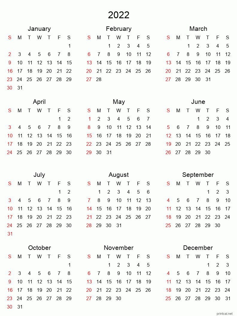 Printable Yearly Calendar 2022, Full Year | Free Printable Within January Calendar 2022 Full Page