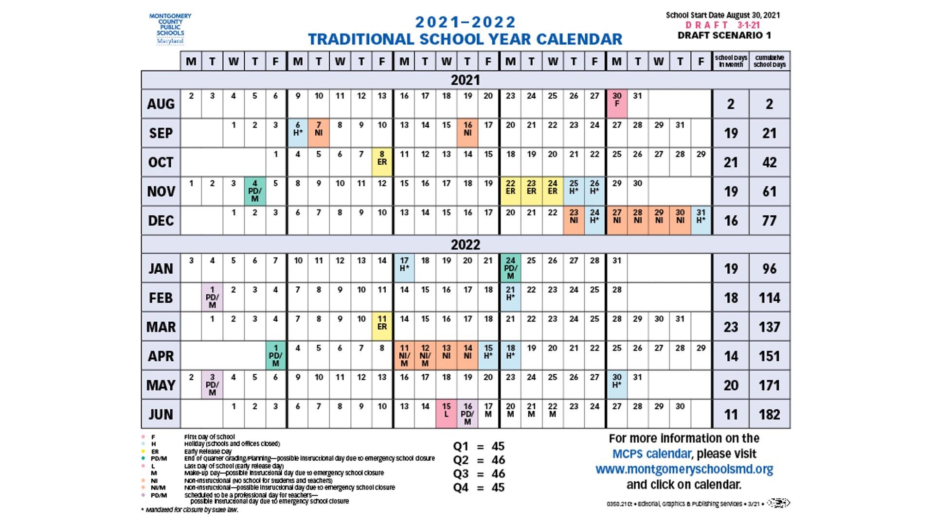Proposed Calendar 2021 22 - Montgomery County Public Schools In Downey Unified 2021 Spring Break