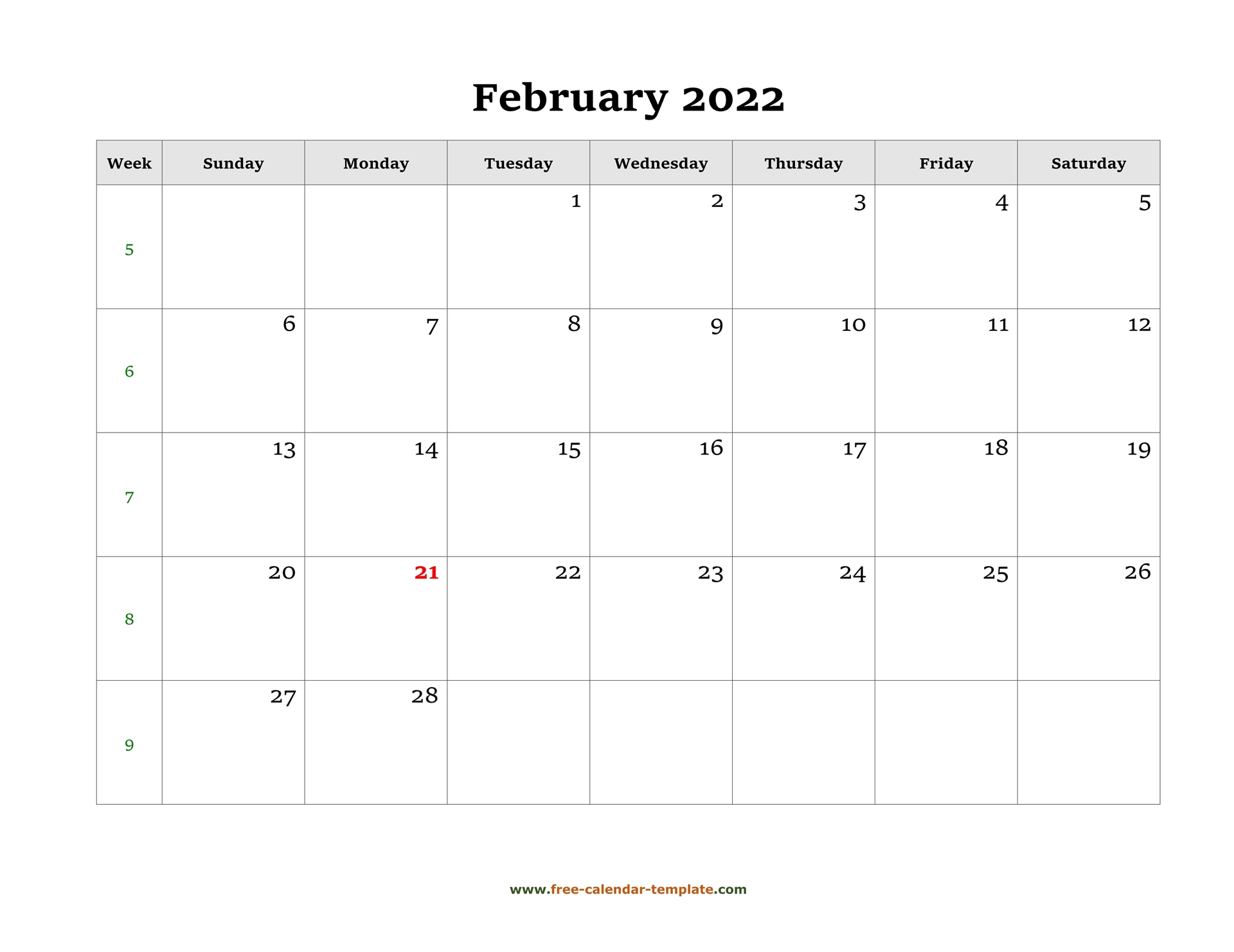 Simple February Calendar 2022 Large Box On Each Day For Intended For Feb 2022 Calendar Printable Free