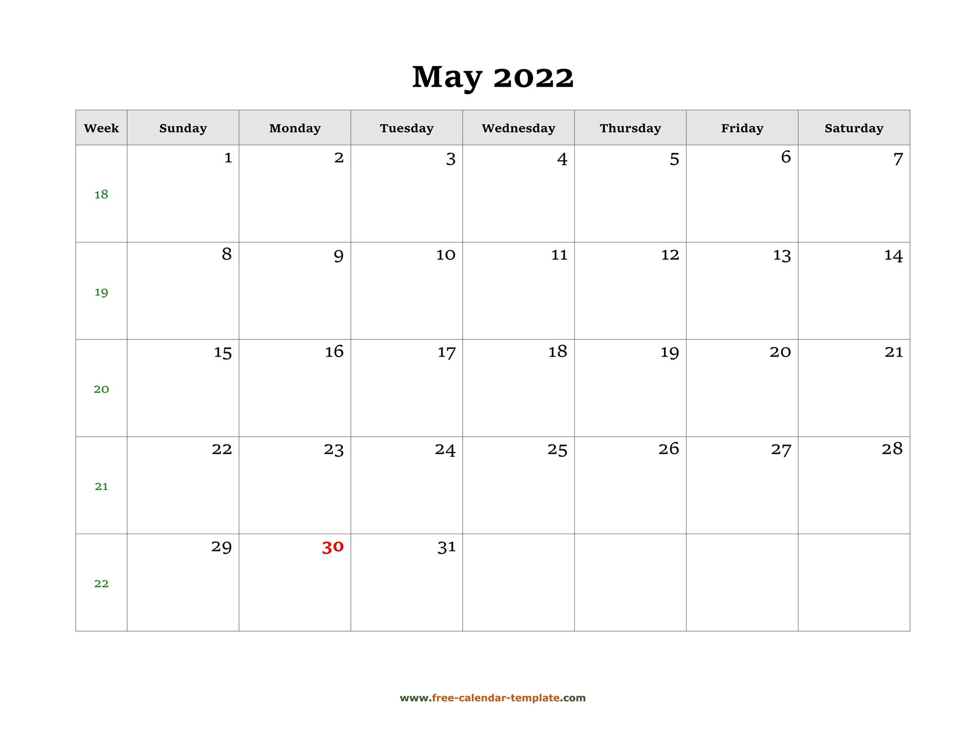 Simple May Calendar 2022 Large Box On Each Day For Notes. | Free Calendar Template Within Landscape Calendar January 2022