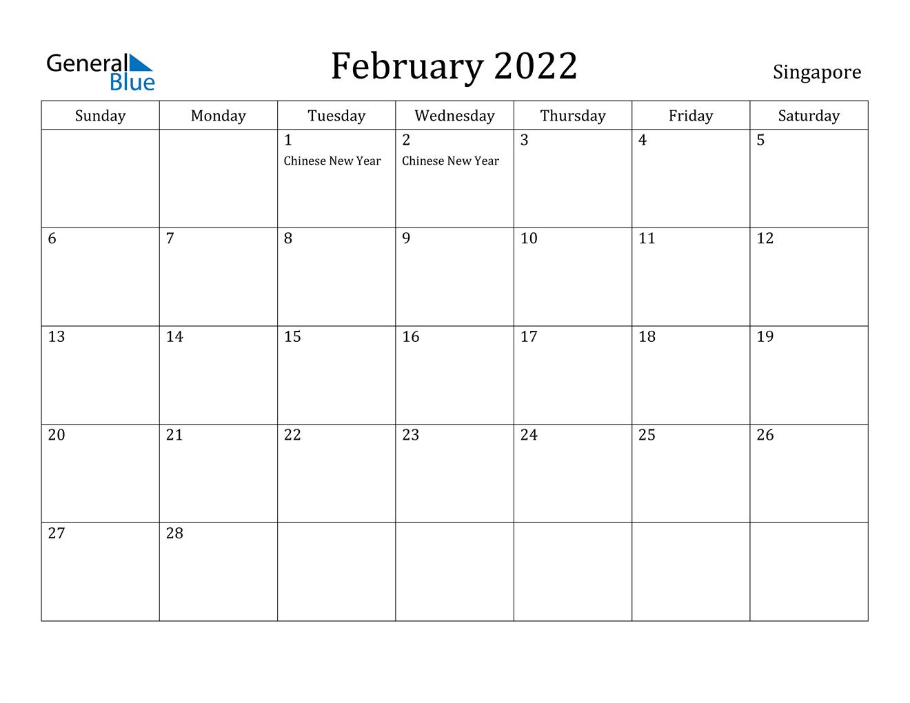Singapore February 2022 Calendar With Holidays Regarding Free Printable Calendar For February 2022