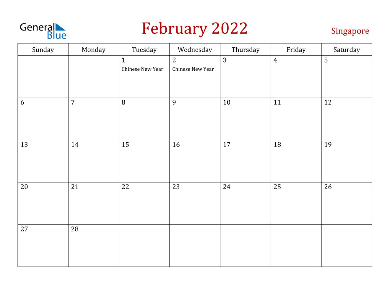 Singapore February 2022 Calendar With Holidays regarding Free Printable Feb 2022 Calendar Templates
