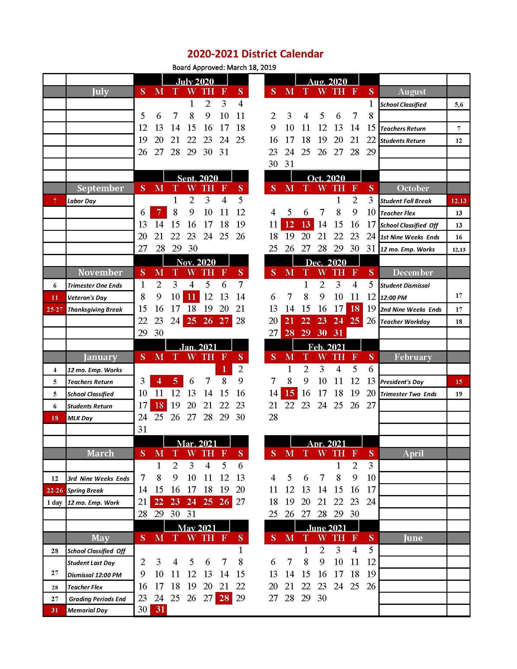 Sy 2019 20 Calendar – Friendship Public Charter School In Fall Break Warren County Ky
