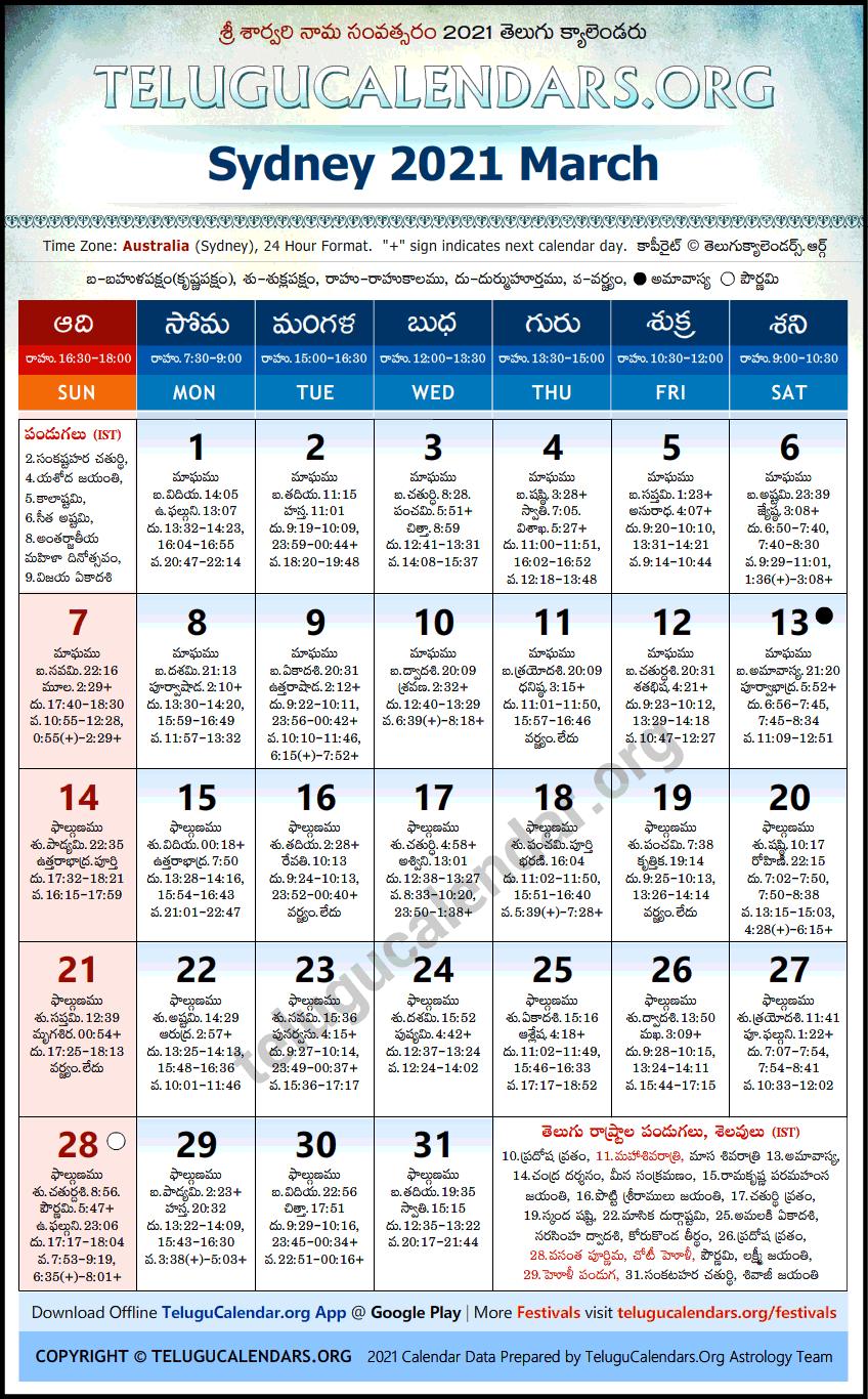 Sydney | Telugu Calendars 2021 March Regarding January February March April May 2021