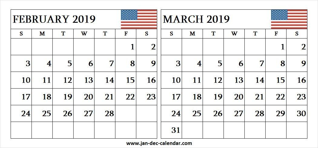 Two Month Calendar February March 2019 | Calendar, March In December January February Calendar