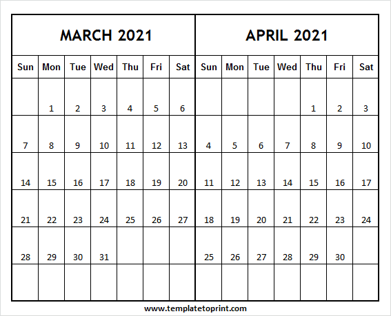 Two Month Calendar March April 2021 - Editable Calendar Template 2021 Within March And April 2021 Calendar
