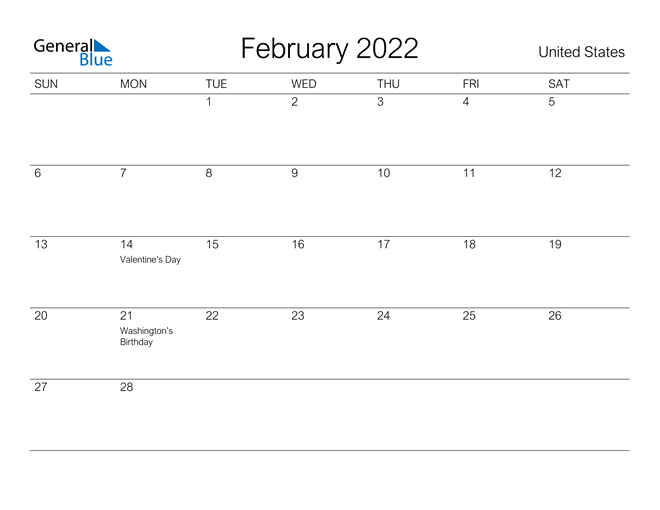 United States February 2022 Calendar With Holidays In Feb 2022 Calendar Template