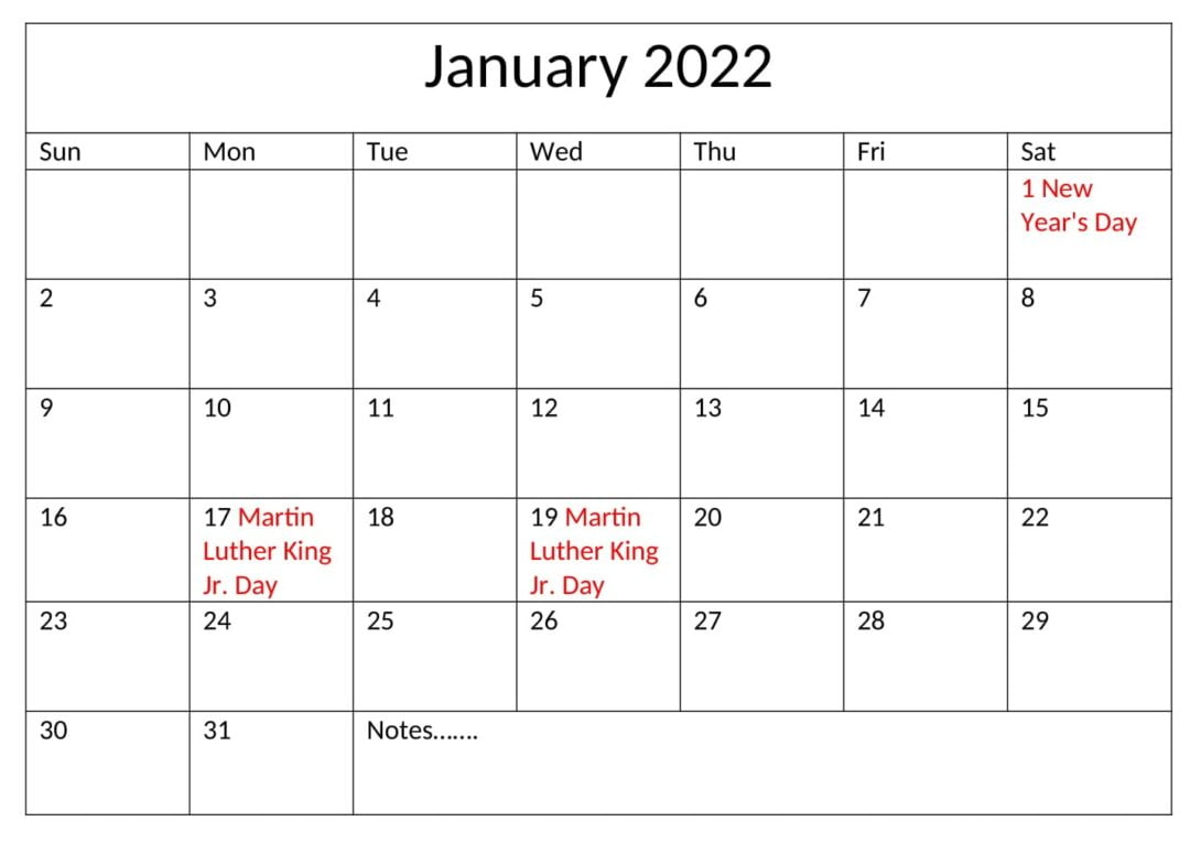 United States January 2022 Calendar With Holidays In 2022 January Calendar With Holidays