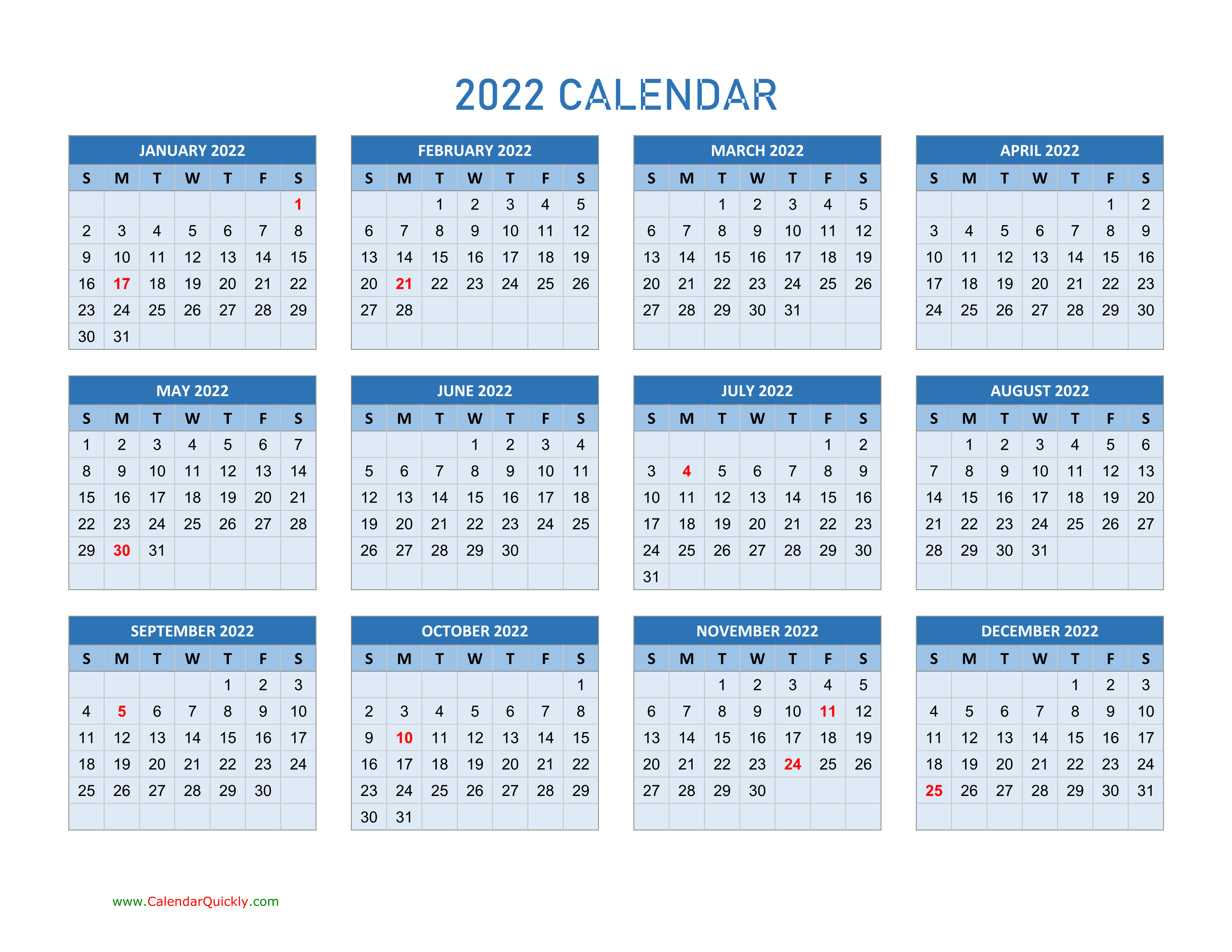 Year 2022 Calendars   Calendar Quickly Throughout Full Page January 2022 Calendar