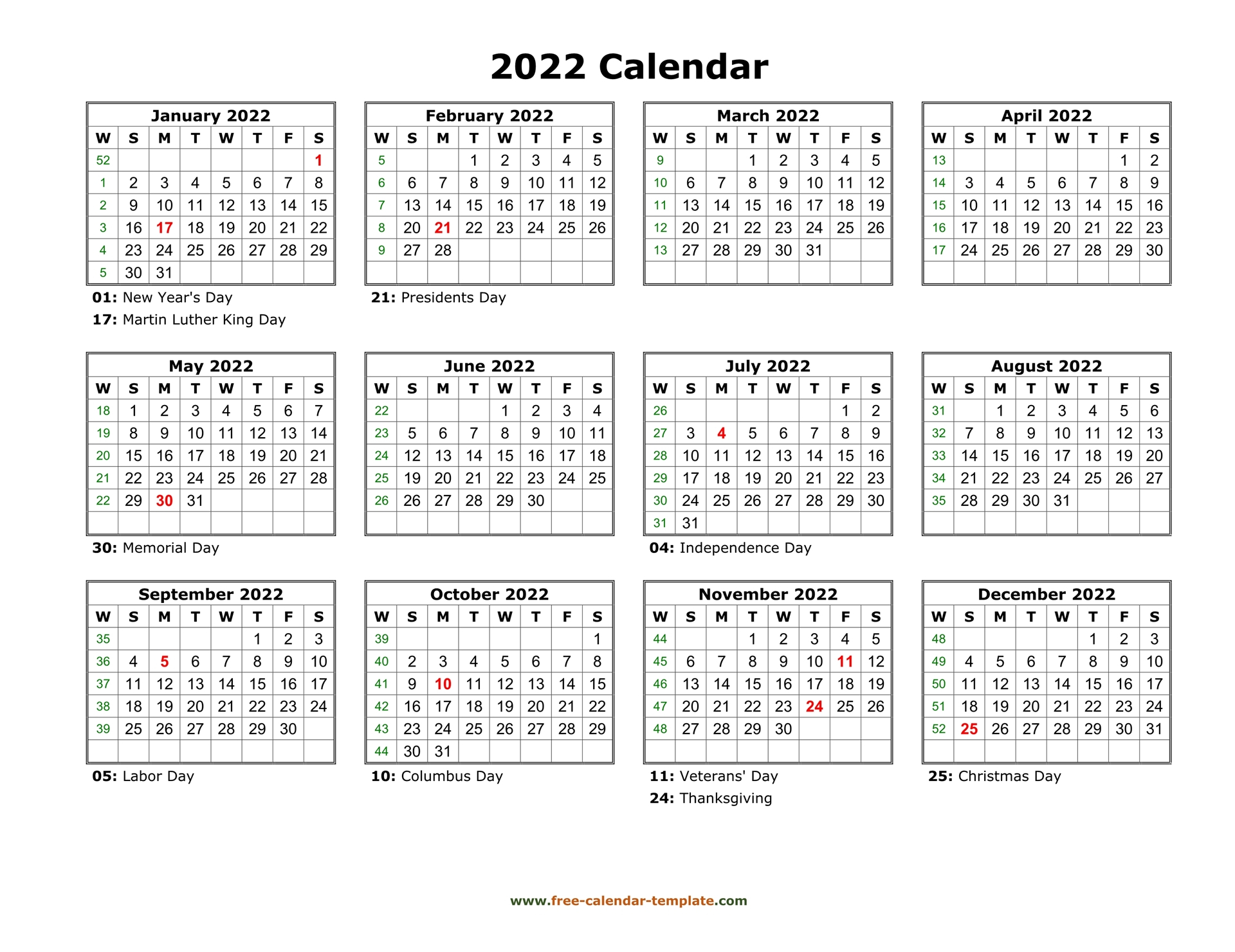 Yearly Calendar 2022 Printable With Federal Holidays Within Free Printable Calendar Templates January 2022